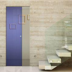Eclisse 10mm Satin Blue Colour Glass Syntesis Pocket Door - 8133.    #pocketglassdoor  #glassdoor  #framelessglassdoor