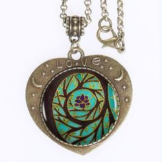 Find More Torques Information about 10pcs Tree Of Enlightenment Mandala Logo Pendant Necklace Spiritual Art Meditation Art Heart shaped  Necklace Women,High Quality necklace women,China women necklace Suppliers, Cheap necklace tree from DreamFire Store on Aliexpress.com