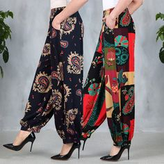 30232e9a67 Spring Summer New Women s Square Dance Pants female lady High waist Loose  Radish Broad-legged