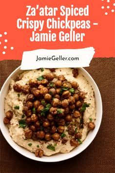 These crispy chickpeas may become your new favorite snack. They are tossed with za'atar (a sesame seed, sumac, oregano, and cumin spice blend) and then roasted until chickpeas take on a nutty flavor and texture. Serve as a snack or as part of our Over the Top Hummus Bar. #glutenfree #pareve #appetizer Chickpea Recipes, Vegan Recipes, Cooking Recipes, Crispy Chickpeas, Canned Chickpeas, Easy Snacks, Quick Easy Meals, Food Terms, Vegane Rezepte
