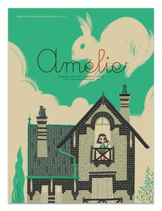"""Chicago illustrator Anne Benjamin, screen printed poster for a screening of """"Amelie"""" at the Roxie Theater in San Francisco, CA Amelie, Omg Posters, Film Posters, Screen Print Poster, Poster Prints, Poster Minimalista, Spoke Art, Fanart, Pop Culture Art"""