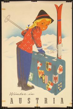 1940's Vintage Ski Poster Winter In Austria door laurelantiques