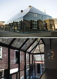 For decades, no one could quite agree on what should go in this critical location between the town hall and central church in war-damaged Schijndel, Holland … until MVDRV showed up with a radical proposal remixing old and new. Their solution: printing local historical-building photographs right onto glass.