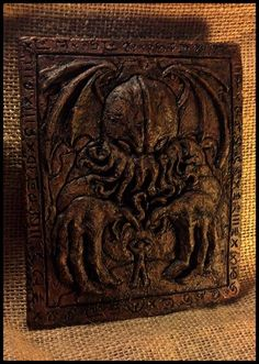 """The Horror in Clay, a recreation of the bas-relief crafted by Henry A. Wilcox in the classic H.P. Lovecraft tale, """"The Call of Cthulhu""""."""