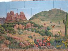 southwest landscape murals | Cornville Muralist Joan Bourque - Murals Your Way - Muralists Cinder Block Paint, Block Painting, Painting Art, Southwest Art, Southwest Style, Desert Backyard, Murals Your Way, School Murals, Fence Art