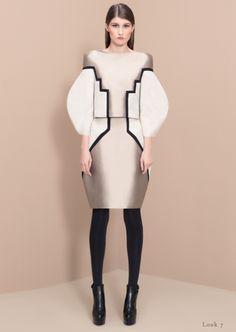 Sculptural Fashion combining a graphic silhouette & print - line & curve; 3D fashion // Camelia Skikos