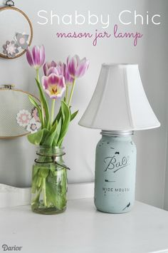 It's so easy to create your own shabby chic lamp! Follow our mason jar lamp DIY tutorial to transform a plain old jar into a piece of stylish lighting!