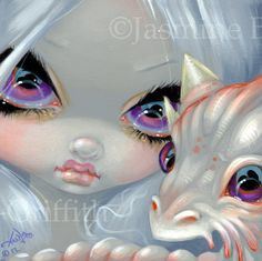 Faces of Faery 197 baby white dragon big eye fairy face art print by Jasmine Becket-Griffith 6x6