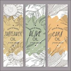 Set of 3 vector sunflower, olive, corn oil label templates. Based on had drawn sketch. Great for packaging and advertising design. # graphic design packaging Set of 3 vector sunflower, olive, corn oil label templates. Food Packaging Design, Packaging Design Inspiration, Branding Design, Design Food, Book Design, Design Design, Olive Oil Packaging, Bag Packaging, Coffee Packaging