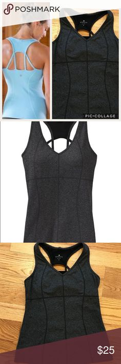 """Athleta Equator Tank Top in Dark Gray Heather Athleta Equator Tank. Dark gray heather. Nylon, polyester, spandex blend. Back strap detailing. Fitted. Shelf bra. Excellent condition. Length 23.5"""", armpit to armpit width 14.5"""". Comment with any questions or make an offer. Athleta Tops Tank Tops"""