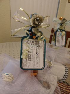 Wine bottle and tag bridal shower gift - used as part of a table runner as a centerpiece