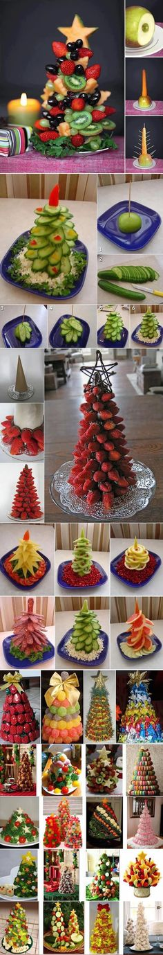 Edible Christmas trees for buffet tables made of various kinds of food - vegetables fruits . Holiday Treats, Christmas Treats, Christmas Baking, Holiday Fun, Holiday Recipes, Christmas Decorations, Holiday Foods, Festive, Macarons Christmas