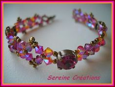 Pattern for bracelet Cute by Sereine.  U need (for bracelet 19 cm):    20 bicone beads 4 mm    5  strass or flat beads 8mm    20 round beads 4 mm    seed beads 11/0    seed beads 15/0  - See more at: http://beadsmagic.com/?p=885#more-885