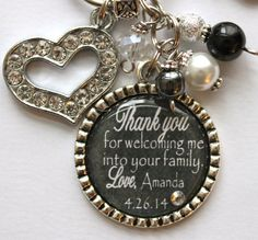 """Mother of Bride Groom personalized keychain gift, """"Thank you for welcoming me into your family"""" Purple black and white with Rhinestone Heart"""