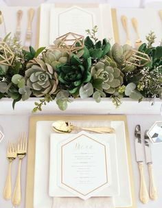 Guarantee Your Wedding Won't Succ With These Creative Ways To Use Succulents - Wilkie Blog! - Printed menu with gold silverware and succulent centerpiece