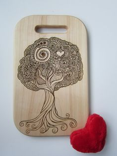 Wooden Cutting Board Tree In Love, Housewarming Gift, Wedding Gift, Anniversary…