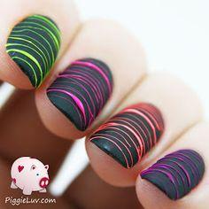 PiggieLuv: Neon sugar spun mani in matte black (no topcoat)