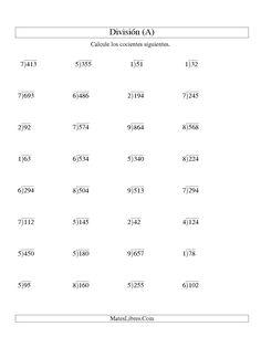 La hoja de ejercicios de matemáticas de División Larga sin Resto, Divisor de 1 Dígito, Cociente de 2 Dígitos (A) de la página Hojas de Ejercicios de División en MatesLibres.com.