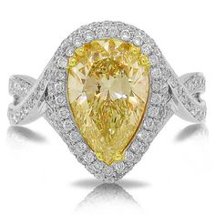 100% Natural 3.22 TCW Fancy Yellow Pear Cut Diamond Ring 18K White Gold #SageDesigns #SolitairewithAccents