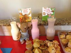 If You Give a Mouse a Cookie and If You Give a Moose a Muffin. Cookies and muffins with assorted flavors of milk.