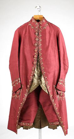 Suit, silk embroidered with silk and metallic thread, 1775-80, French.