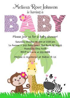 Items Similar To Personalized Animal Safari Jungle Baby Shower Invitation    Digital Print On Etsy