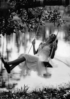 Life love peace happiness, swing, woman, female, lady, lake, water, reflections, tree, solitude, peaceful, relaxed, silence, beauty of Nature, photo b/w.