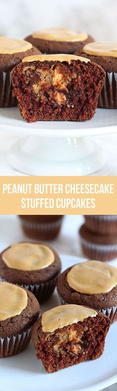 A hidden chocolate chip peanut butter cheesecake filling takes these Peanut Butter Cheesecake Stuffed Chocolate Cupcakes to a whole new level. You'll LOVE this recipe.