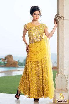 Yellow Georgette Net Western Gown