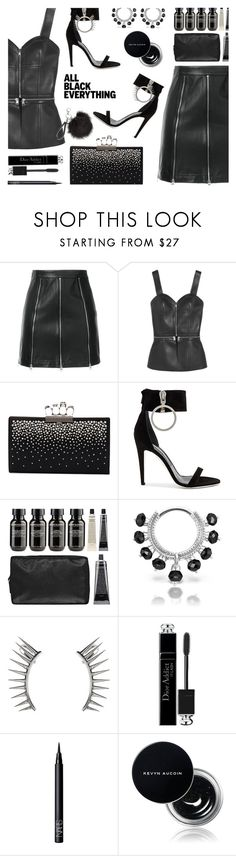 """""""All Black Contest"""" by texasradiance ❤ liked on Polyvore featuring McQ by Alexander McQueen, Alexander McQueen, Off-White, Grown Alchemist, Maria Tash, Latelita, Christian Dior, NARS Cosmetics, Kevyn Aucoin and contest"""