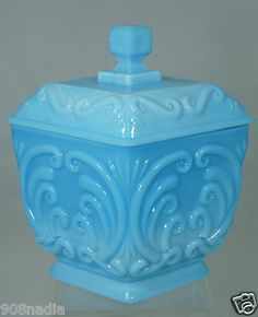 Portieux Vallerysthal PV France Blue Opaline Milk Glass Covered Jar,Bowl,Vase