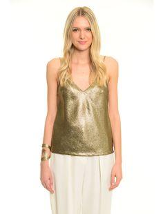 Diffusione Tessile BRUNA oro: Top gold. 63 Camisole Top, Tank Tops, Women, Fashion, Italian Fashion, Gold, Moda, Halter Tops, Fashion Styles