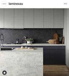 Laminex - mixture of colour Kitchen Tiles, Kitchen Design, Kitchen Cabinets, Hexagon Tiles, Kitchen Inspiration, Interior Architecture, Kitchens, House Ideas, New Homes