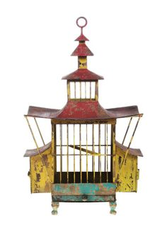 Antique Pagoda Birdcage old metal painting asian designer house NEW bird cage | eBay