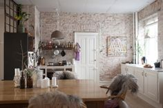 Nice whitewash on the brick. It retains a feeling of warmth. White Washed Pine, White Wash Brick, Barn Living, Living Room, Brick Colors, Pine Floors, Interior Decorating, Interior Design, Home Comforts