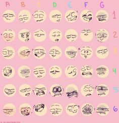 """Drawing Facial Expression platinumfandomtrash: """"I was helping a friend out with figuring out expressions Feel free to use yourself """" - Drawing Reference Poses, Drawing Poses, Drawing Tips, Drawing Ideas, Drawing Stuff, Drawing Meme, Drawing Cartoon Faces, Expression Challenge, Drawing Challenge"""