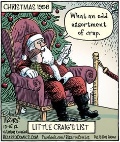 In a recent Bizarro comic Dan Piraro imagines what it might have been like when craigslist founder Craig Newmark was a little kid giving his Christmas Christmas Comics, Christmas Jokes, Christmas Cartoons, Christmas Fun, Christmas Cards, Christmas Doodles, Black Christmas, Christmas Things, Christmas Activities