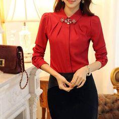Women Chiffon Blouses, Long Sleeves, Turn Down Collar Blouses, Red, Black