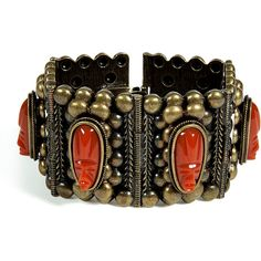 DANNIJO Oxidized Brass Plated Barbora Cuff With Cameos ❤ liked on Polyvore