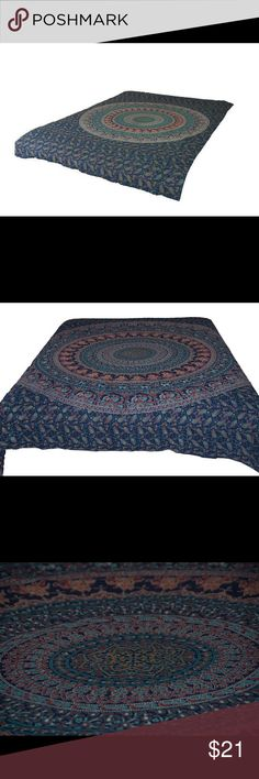 "Twin Hippie Blue Peacock Mandala Tapestry Bohemian * We offer the best world-class mandala/tapestry that is the lowest in price without sacrificing the quality.  * Unique design, elegant and eye-catching. * 100% Cotton fabric - smooth feel yet strong and durable. * Hand-blocks printed design. * Shape : Rectangle. Size : Twin : 85""x55"" (215.9 cm x 139.7 cm) * Weight : ~425gm. * Tumble wash or hand dry only. * Cotton fabric may shrink by few cms. * Package contains : One Mandala/Tapestry…"