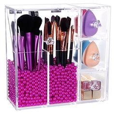 Langforth Brush Holder Lipstick Puff Drawer Dustproof Box Premium Quality Thick Makeup Acrylic Organizer Cosmetic Storage Display All In One Case Lid With Free Rosy Pearl >>> Find out more about the great product at the image link. Makeup Box, Cute Makeup, Diy Makeup, Makeup Ideas, Makeup Geek, Makeup Remover, Teen Makeup, Cheap Makeup, Eyebrow Makeup