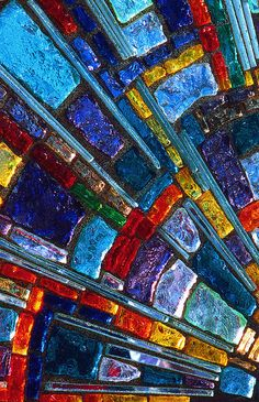"""Abstract photographic art of vibrant stained glass. """"Stained Glass Mosaic Two"""""""