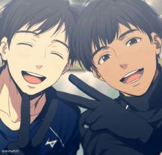 Yuuri and Phichit posing for a selfie!! (c) from the great @shima920(twitter)