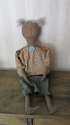 Primitive Black Doll Sophie by Bettesbabies on Etsy, $39.00