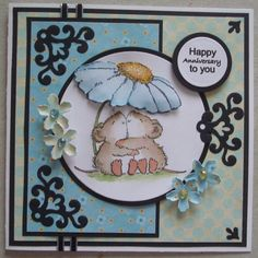 A043 Hand made anniversary card using Penny Black Squeeze Til I squeak stamp and spellbinders dies