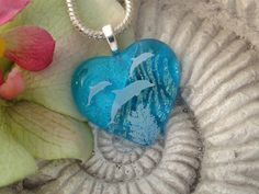 Dolphin Heart Necklace  Dichroic Jewelry  Dichroic by ccvalenzo, $28.00
