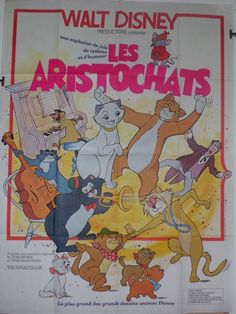 Affiche originale Walt Disney Les Aristochats 120x160 in Collections, Calendriers, tickets, affiches, Affiches pub: anciennes | eBay