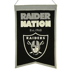 """Support the Oakland Raiders with a 14"""" x 22"""" beautifully embroidered banner that shows your pride for your Oakland Raiders. The banner is constructed with heavy wool, detailed embroidery and applique. The banner includes a hanging rod and cord for ease in hanging."""