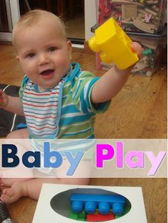 Making Boys Men: More Baby Play!  Lots of concentration to pull big blocks out of a tissue box.   Pics for a cool drum set up using bowls and spatula.