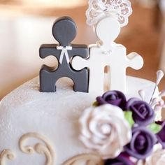 because we complete each other - Puzzle piece cake toppers
